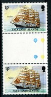 Falkland Islands 1989-90 Cape Horn Sailing Ships - 1p Value - Interpaneau Pair MNH (SG 567) - Falkland Islands