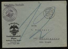 WW II  DR Dienstpost Briefumschlag Reichsnährstand: Gebraucht Siegen - Rudersdorf 1944,Bedarfserhaltung. - Covers & Documents