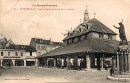 16343    MONTREJEAU   LA STATUE ET LA HALLE - Montréjeau