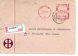 BELGIQUE / RECOMMANDE 1975 De COURTRAI Vers La France/ DEFAUT : Face Arrière Manquante !! Offre OK +++ - Franking Machines