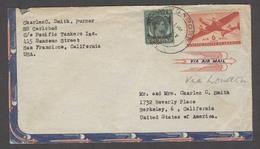 STRAITS SETTLEMENTS SINGAPORE. 1946 (10 May). BMA. Sing - USA. Air Mixed Countries Fkd Env Tied Cd On Comercial Ship Tan - Singapur (1959-...)