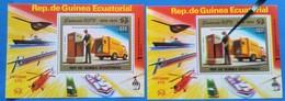 GUINEA-ECUATORIAL-1974-UPU- 2 S/Sheet-ONE-DOUBLE PRINTING - MNH-LUX -50e!!!!! Rarr - U.P.U.
