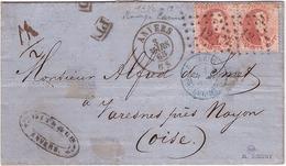 BELGIQUE - Lettre -  Anvers Pour Maresmes - King Leopold 1 Carmin Quarante Centimes Belge En Paire - Obl 1865 - Belgium