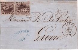 BELGIQUE - Lettre -  Ypres Pour Lierre - King Leopold 1 Brun Fonce Dix Centimes Belge En Paire - Obl 12-01-1865 - 1849-1865 Medallions (Other)