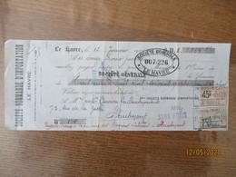 TIMBRE MEDAILLON DE TASSET 45c EFFETS NEGOCIABLES ET NON NEGOCIABLES SUR TRAITE DU 15 JANVIER 1924 SOCIETE NORMANDE D'I - Revenue Stamps