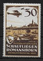 SCHWEIZ SWISS Schaufliegen Romanshorn 1924 Flugmarke Vignet - Nuevos