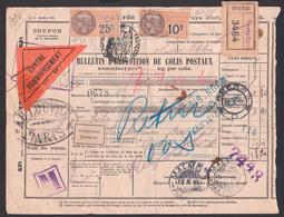 Chemis De Per Francais Bulletin D` Expetition De Colis Postaux Paris Care (3464) Fiscal 1926 Retour - Francia