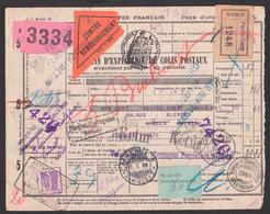 Chemis De Per Francais Bulletin D` Expetition De Colis Postaux Paris Gare (1248) Au Louvre Malmö 1926 Retur - Storia Postale