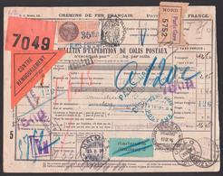 Chemis De Per Francais Bulletin D` Expetition De Colis Postaux Paris Gare Timbre Oslo Tollpost  1926 Reeexport, Malmö - France