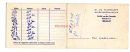 D De Gassart Kinesithérapeute Paris 15 Eme Vos Rendez Vous Carte 1973 - Visiting Cards