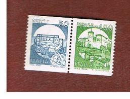 ITALIA  - UNIF. 1737.1738  - 1985 CASTELLI X DISTRIB. AUT. COPPIA 50 + 450 SE-TENANT  - NUOVI **(MINT) - 1946-.. République
