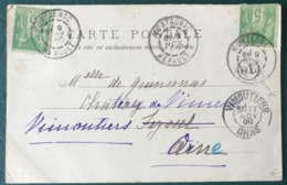 France N°102 (x2) Sur CPA De Montagnac + OL - 1900 - (B110) - 1877-1920: Semi-Moderne