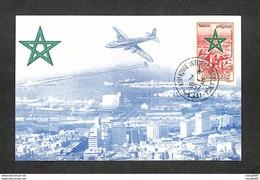 """MAROC - Carte MAXIMUM 1957 - 7è FOIRE INTERNATIONALE DE CASABLANCA - Avion """"Tourterelle"""" - Marocco (1956-...)"""