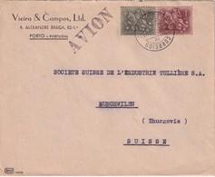 PORTUGAL 1954 PLI AERIEN DE PORTO POUR MÜNCHWILEN - 1910-... Republic