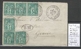 Lettre De SAINT BONNET EN CHAMPSAUR - Hautes Alpes Pour Geneve - Suisse -1877 - Cachet Boite Mobile - Poststempel (Briefe)