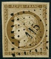 Obl. N°1 10c Bistre, Obl PC 115, Signé Brun Et Scheller - TB - 1849-1850 Ceres