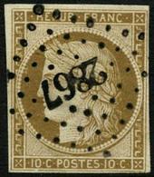 Obl. N°1 10c Bistre, Signé Calves Et Brun - B - 1849-1850 Ceres
