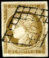 Obl. N°1 10c Bistre, Grandes Marges - TB - 1849-1850 Ceres
