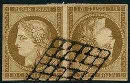 Obl. N°1d 10c Bistre, Paire Tête-bèche Horizontale, Obl Grille Très Beau Faux Pouvant Trompé Un Spécialiste - B - 1849-1850 Ceres