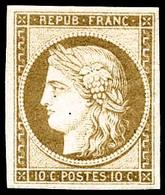 ** N°1F 10c Bistre Clair, Réimp - TB - 1849-1850 Ceres