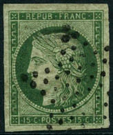 Obl. N°2 15c Vert, Pièce De Luxe, Certif Scheller - TB - 1849-1850 Ceres