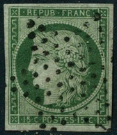 Obl. N°2 15c Vert - TB - 1849-1850 Ceres