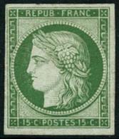 ** N°2e 15c Vert, Réimp - TB - 1849-1850 Ceres