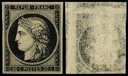 ** N°3 20c Noir S/jaune, Recto-verso, Signé Scheller - TB - 1849-1850 Ceres