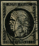 Obl. N°3 20c Noir S/jaune, Obl CàD Type 14, Signé Calves - B - 1849-1850 Ceres