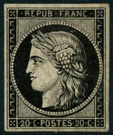 ** N°3a 20c Noir S/blanc - TB - 1849-1850 Ceres