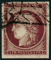 Obl. N°6 1F Carmin Foncé, Obl Grille Sans Fin , Signé Calves - TB - 1849-1850 Ceres