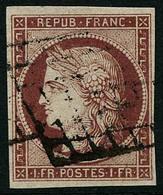 Obl. N°6 1F Carmin, Signé Brun - TB - 1849-1850 Ceres