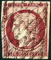 Obl. N°6 1F Carmin, Infime Pelurage - B - 1849-1850 Ceres