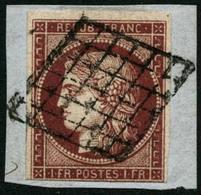 Obl./fragment N°6B 1F Carmin Foncé S/fgt Au Filet En Bas - TB - 1849-1850 Ceres
