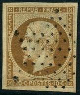 Obl. N°9 10c Bistre, Peluré Au Verso - B - 1852 Louis-Napoléon