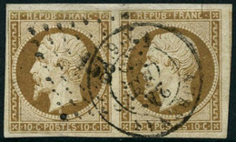 Obl. N°9 10c Bistre, Paire - TB - 1852 Louis-Napoléon