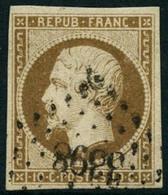 Obl. N°9d 10c Bistre Brun Foncé, Signé Scheller - TB - 1852 Louis-Napoléon