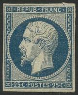 * N°10 25c Bleu, Petite Encoche Dans La Marge Hors Timbre - B - 1852 Louis-Napoléon