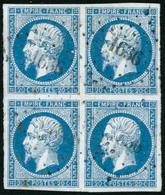 Obl. N°14A 20c Bleu, Type I Bloc De 4 - TB - 1853-1860 Napoléon III.