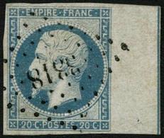Obl. N°14Ai 20c Bleu, Type I BDF Avec Filet D'encadrement, Signé JF Brun - TB - 1853-1860 Napoléon III.