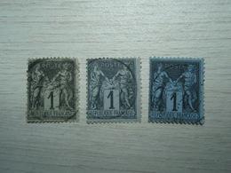 3 Timbres Sage 1c  Noir Bleu à Identifier - Yvert & Tellier – Arthur Maury - N° 84  Ou 83 - 1876-1898 Sage (Type II)