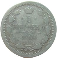 LaZooRo: Russia 5 Kopeks 1903 F - Silver - Russie