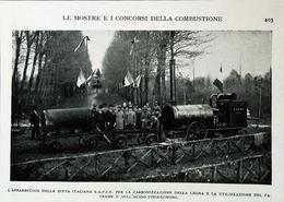 Tracteur Agricole à Vapeur Italien - Cabonisation Mobile Du Bois  - Coupure De Presse Italienne  (encadré Photo) De 1929 - Tracteurs
