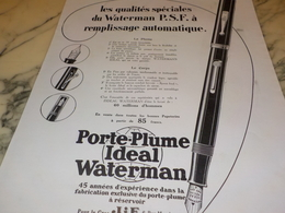 ANCIENNE PUBLICITE REMPLISSAGE AUTOMATIQUE VOTRE PLUME WATERMAN 1928 - Otras Colecciones