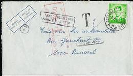 Doc. De SCHAERBEEK  A 2 A  Du 09/06/72 (lunettes 1068) , Taxé  BXL  + Griffe Taxe Annulée Et Retour .... - Portomarken