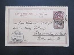 Ägypten 1900 Ganzsache Antwortkarte Mit Zusatzfrankatur Stempel Alexandrie Und Brandenburg Havel - 1866-1914 Khedivate Of Egypt