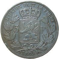 LaZooRo: Belgium 5 Francs 1865/55 VF / XF Broken M - Silver - 1831-1865: Leopold I