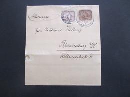 Ägypten 1900 Ganzsache / Streifband Mit Zusatzfrankatur Stempel Alexandrie Nach Brandenburg Havel Gesendet - 1866-1914 Khedivate Of Egypt