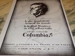 ANCIENNE PUBLICITE FESTIVAL WAGNER EXCLUSIVITE  COLUMBIA 1928 - Música & Instrumentos