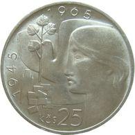 LaZooRo: Czechoslovakia 25 Korun 1965 UNC Scarce - Silver - Czechoslovakia